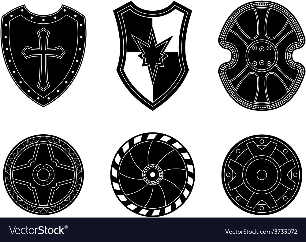 Icon set of ancient medieval shield vector | Price: 1 Credit (USD $1)