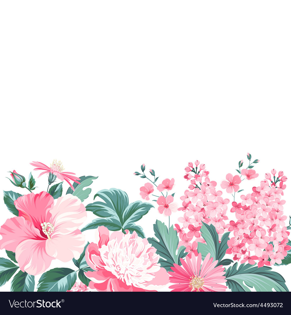 Invitation card with floral garland and text place vector