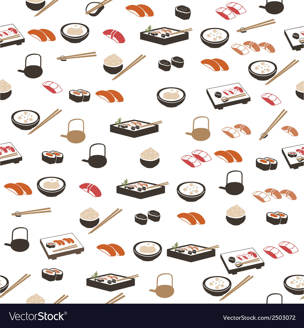 Japanese food seamless pattern vector | Price: 1 Credit (USD $1)