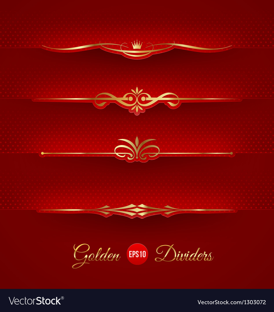 Set of golden decorative dividers vector | Price: 1 Credit (USD $1)