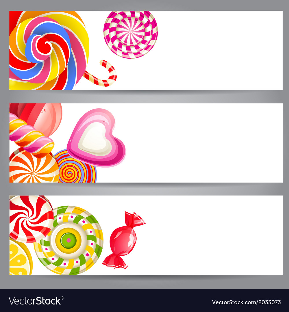 Banners with candies vector | Price: 1 Credit (USD $1)