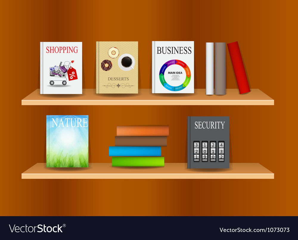 Bookshelf background vector | Price: 1 Credit (USD $1)