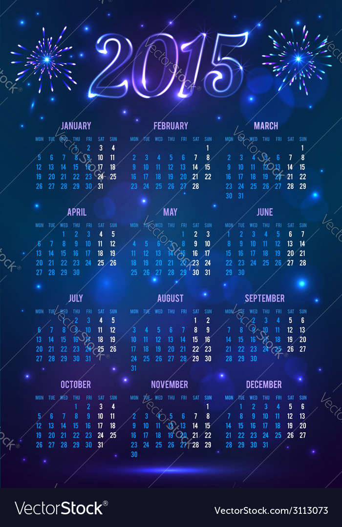 Dark blue 2015 year european calendar in magic vector | Price: 1 Credit (USD $1)
