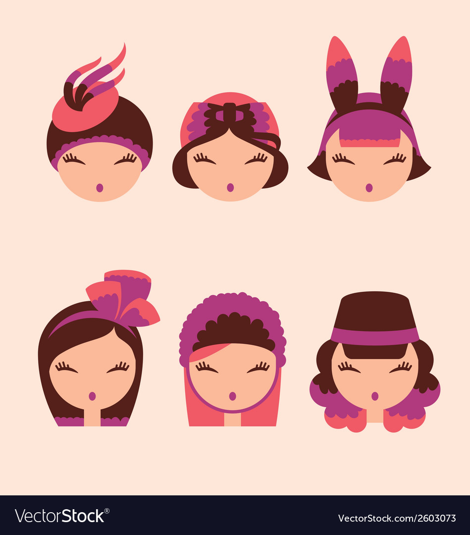 Fashion girls in head accessories icon set vector | Price: 1 Credit (USD $1)