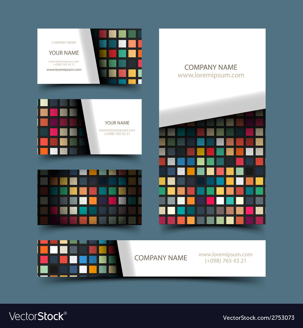 Mosaic business card set vector | Price: 1 Credit (USD $1)