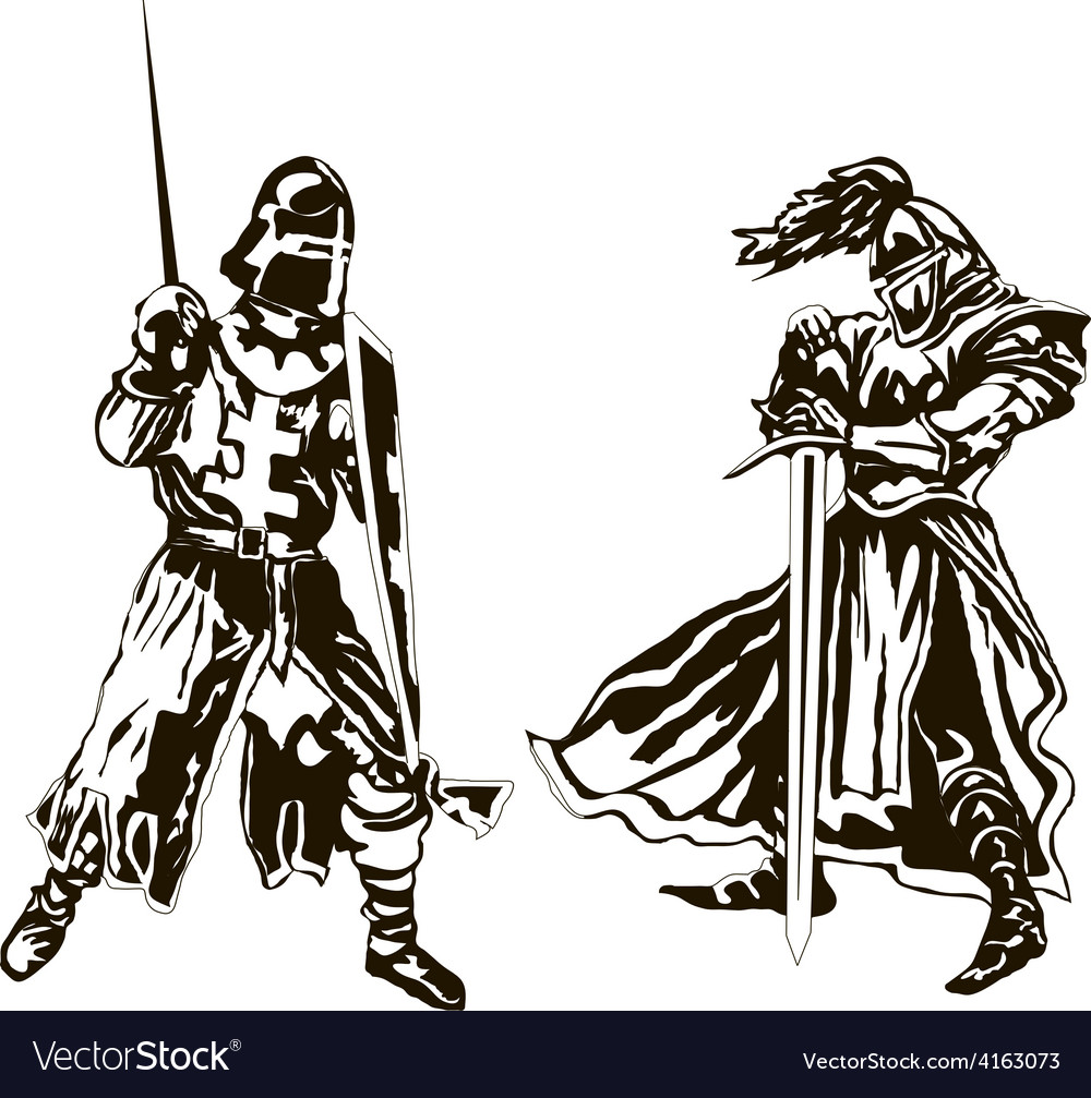Two medieval knights vector | Price: 1 Credit (USD $1)
