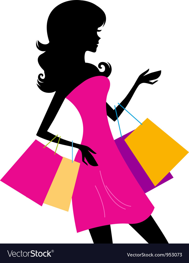 Woman shopping silhouette vector   Price: 1 Credit (USD $1)