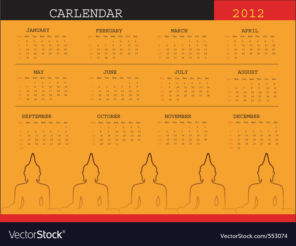 A calendar for 2012 desktop calendar or postcard vector | Price: 1 Credit (USD $1)