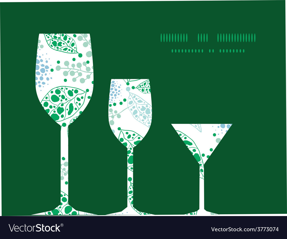 Abstract blue and green leaves three wine vector | Price: 1 Credit (USD $1)