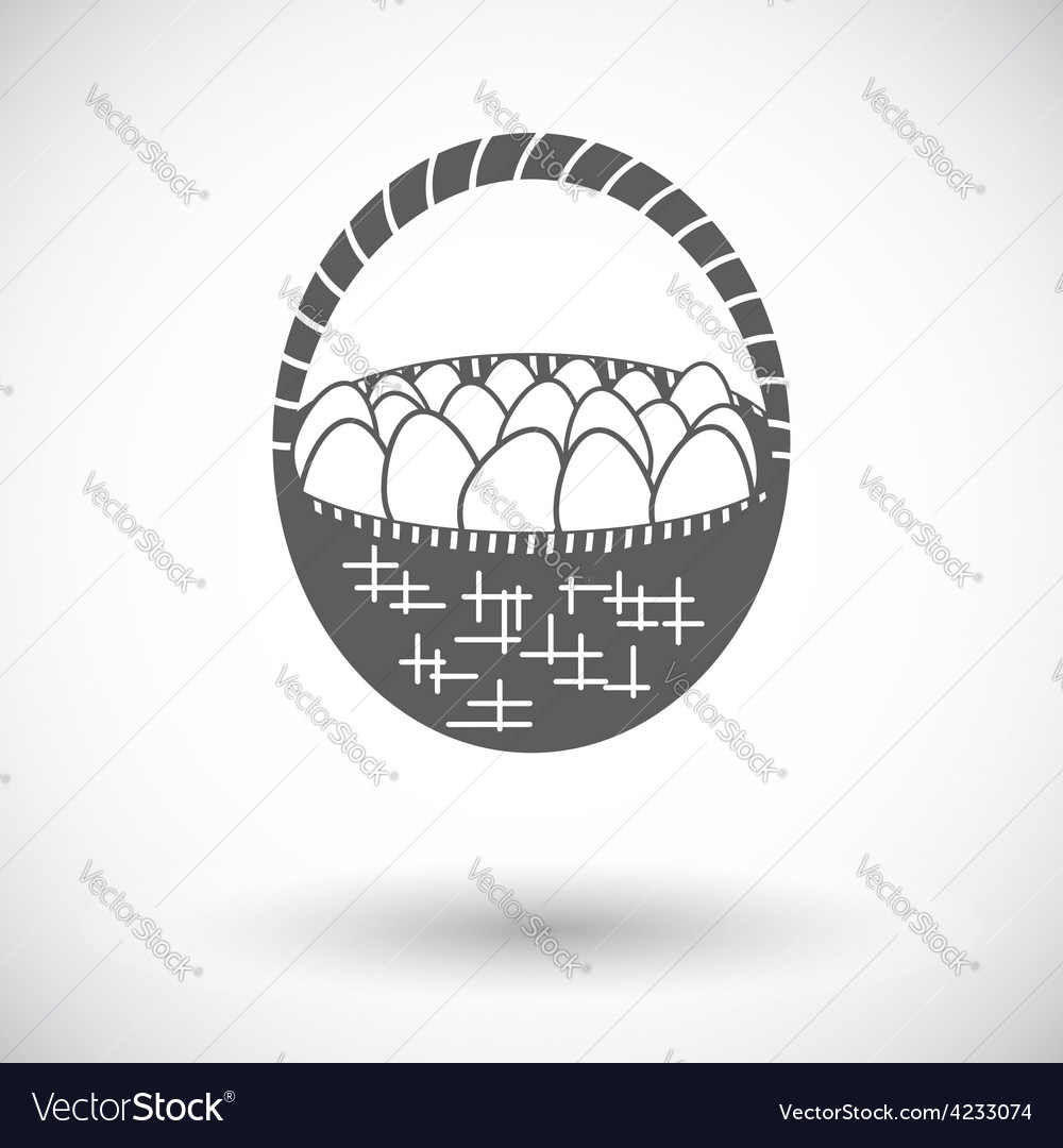 Basket of eggs single icon vector