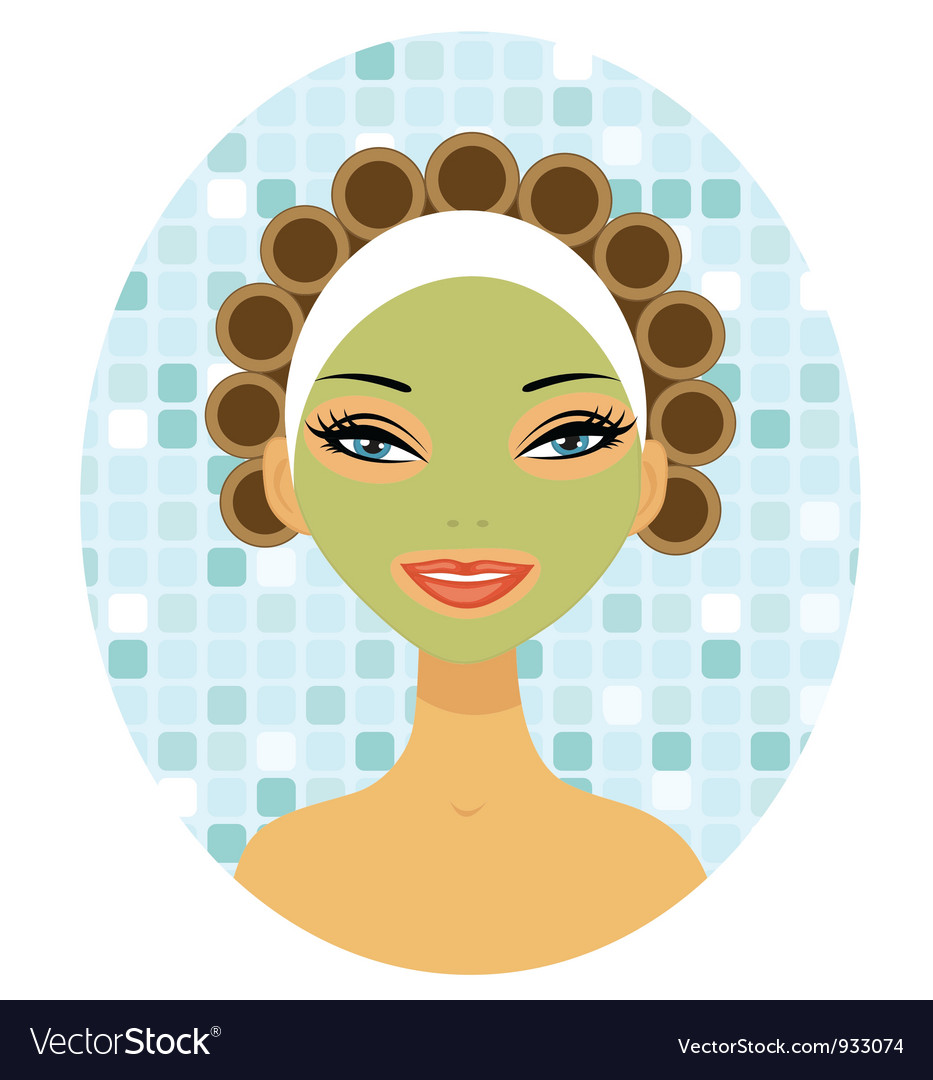Beauty with hair curlers vector | Price: 3 Credit (USD $3)