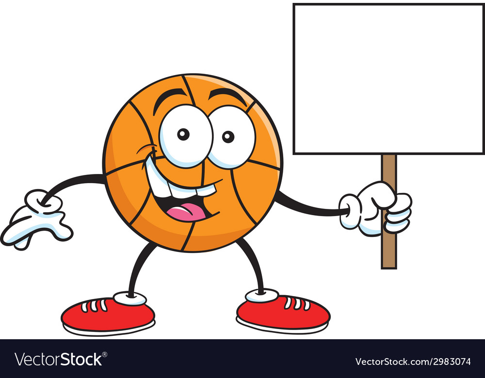 Cartoon basketball holding a sign vector | Price: 1 Credit (USD $1)