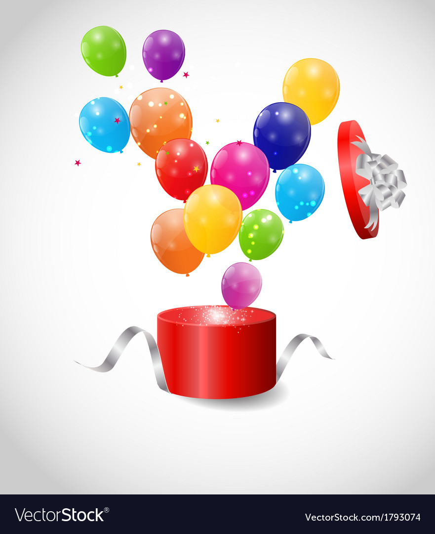Color glossy balloons in gift box background vector | Price: 1 Credit (USD $1)