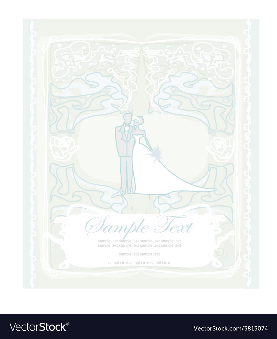 Elegant wedding invitation with wedding couple vector | Price: 1 Credit (USD $1)