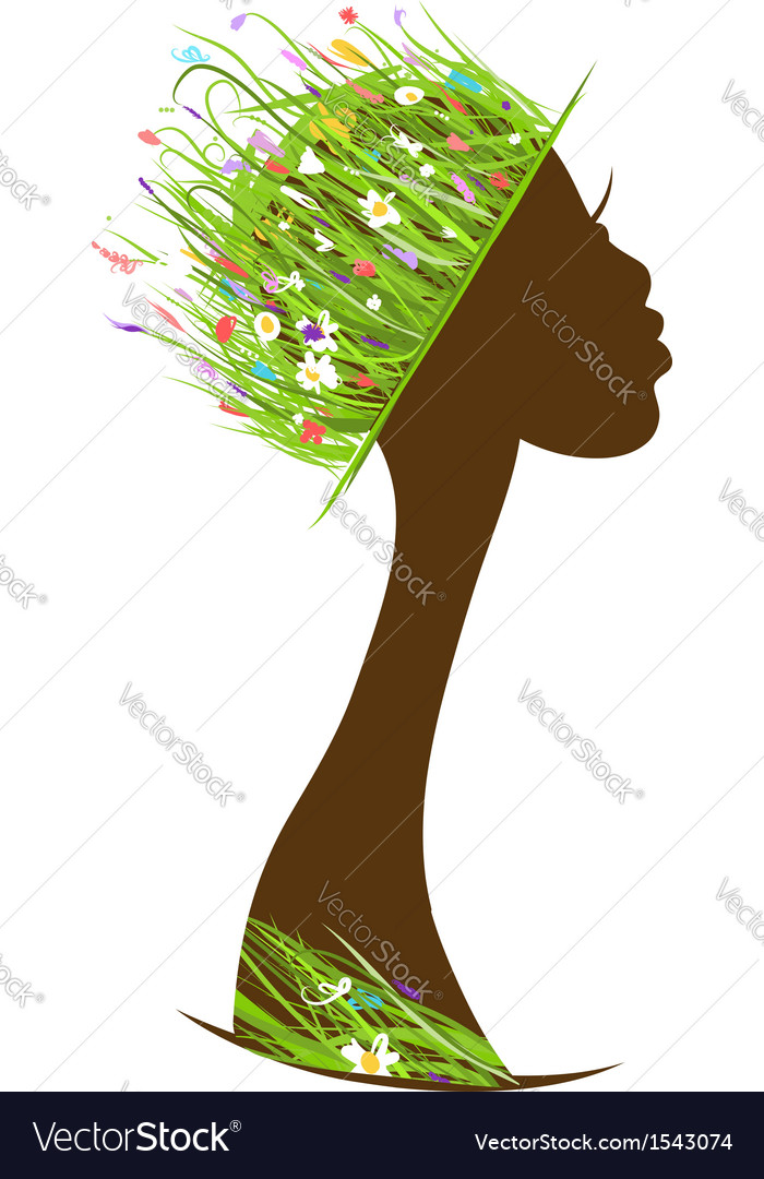 Organic hair care concept female head with hat vector | Price: 1 Credit (USD $1)