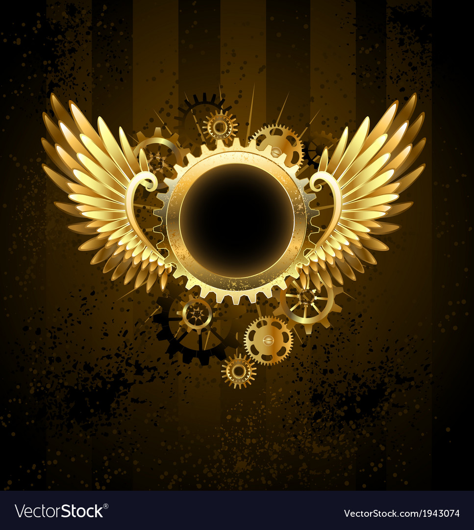 Round banner with steampunk wings vector | Price: 1 Credit (USD $1)