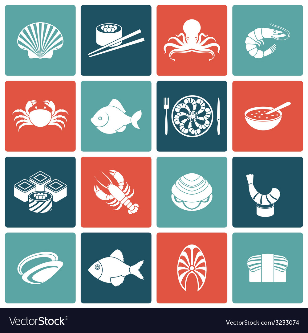 Seafood icons set flat vector | Price: 1 Credit (USD $1)