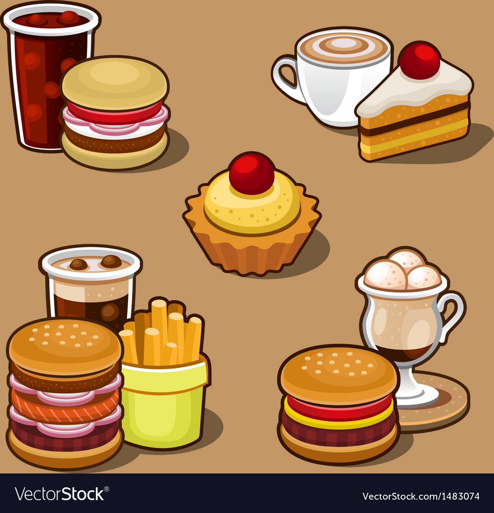 Set of colorful cartoon fast food vector | Price: 1 Credit (USD $1)
