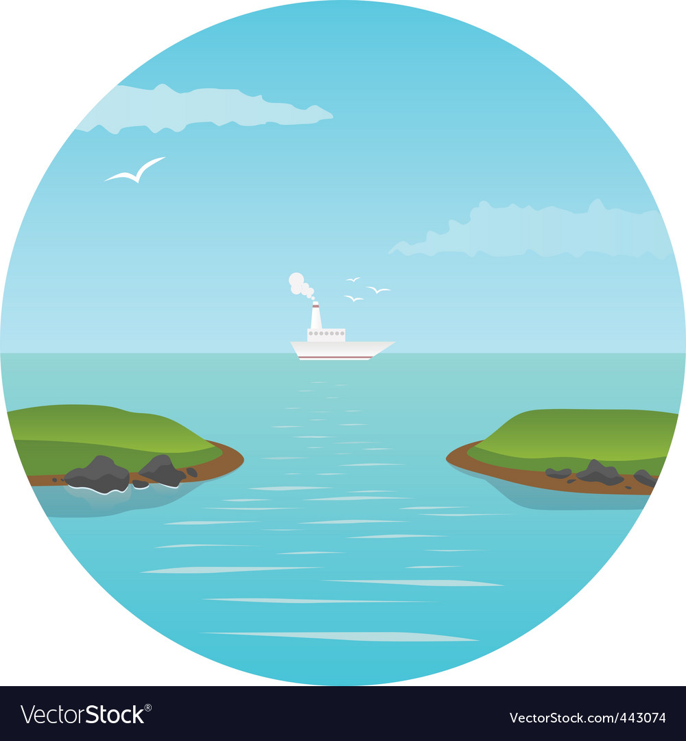Ship in the ocean vector | Price: 1 Credit (USD $1)