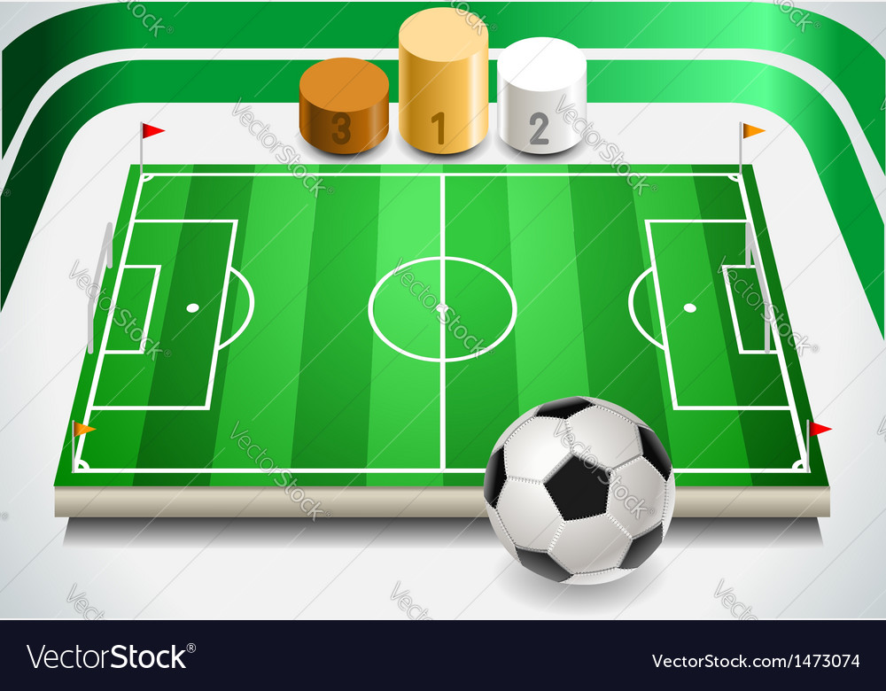 Soccer field with soccer ball and podium vector | Price: 1 Credit (USD $1)