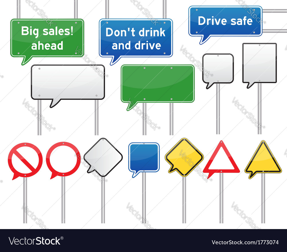 Speech bubble traffic signs vector