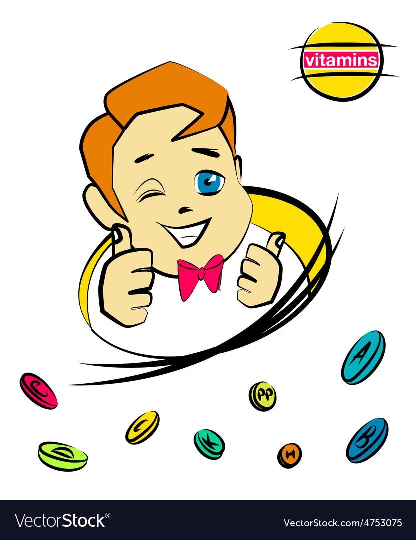 Cartoon nice boy with vitamin pills vector   Price: 1 Credit (USD $1)