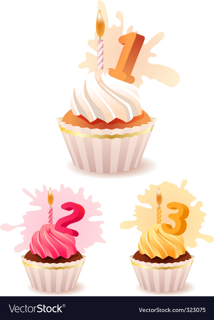 Collection of festive birthday cakes vector | Price: 1 Credit (USD $1)
