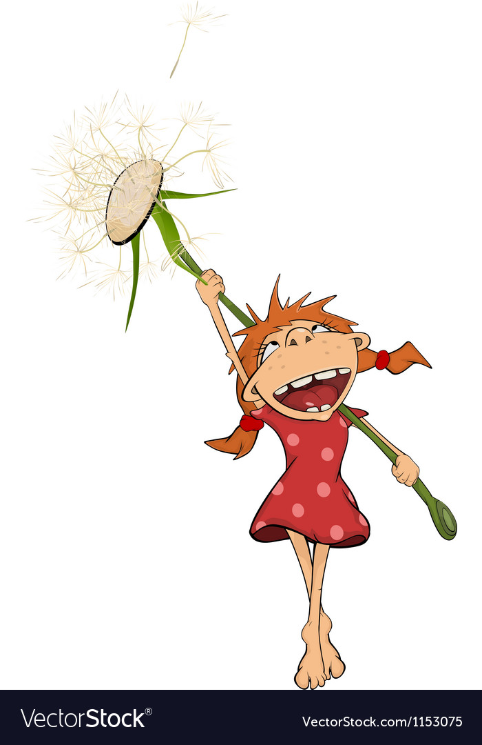 Girl and a dandelion vector