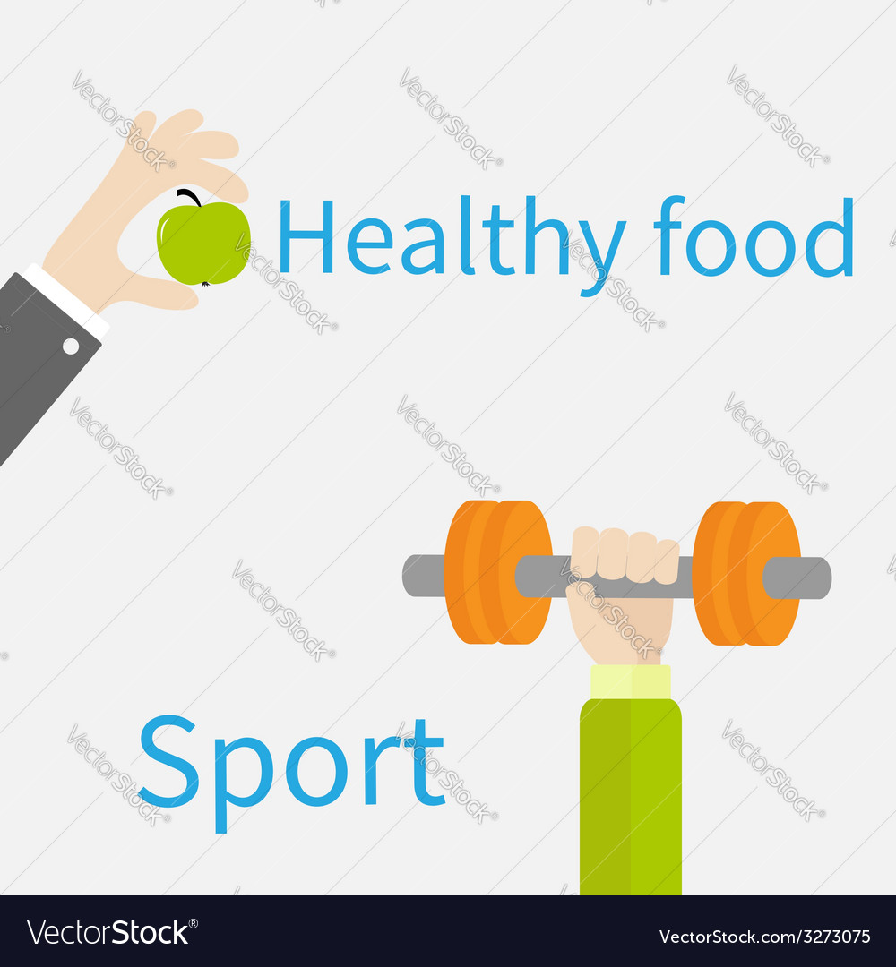 Hands holding dumbell and apple sport fitness vector | Price: 1 Credit (USD $1)