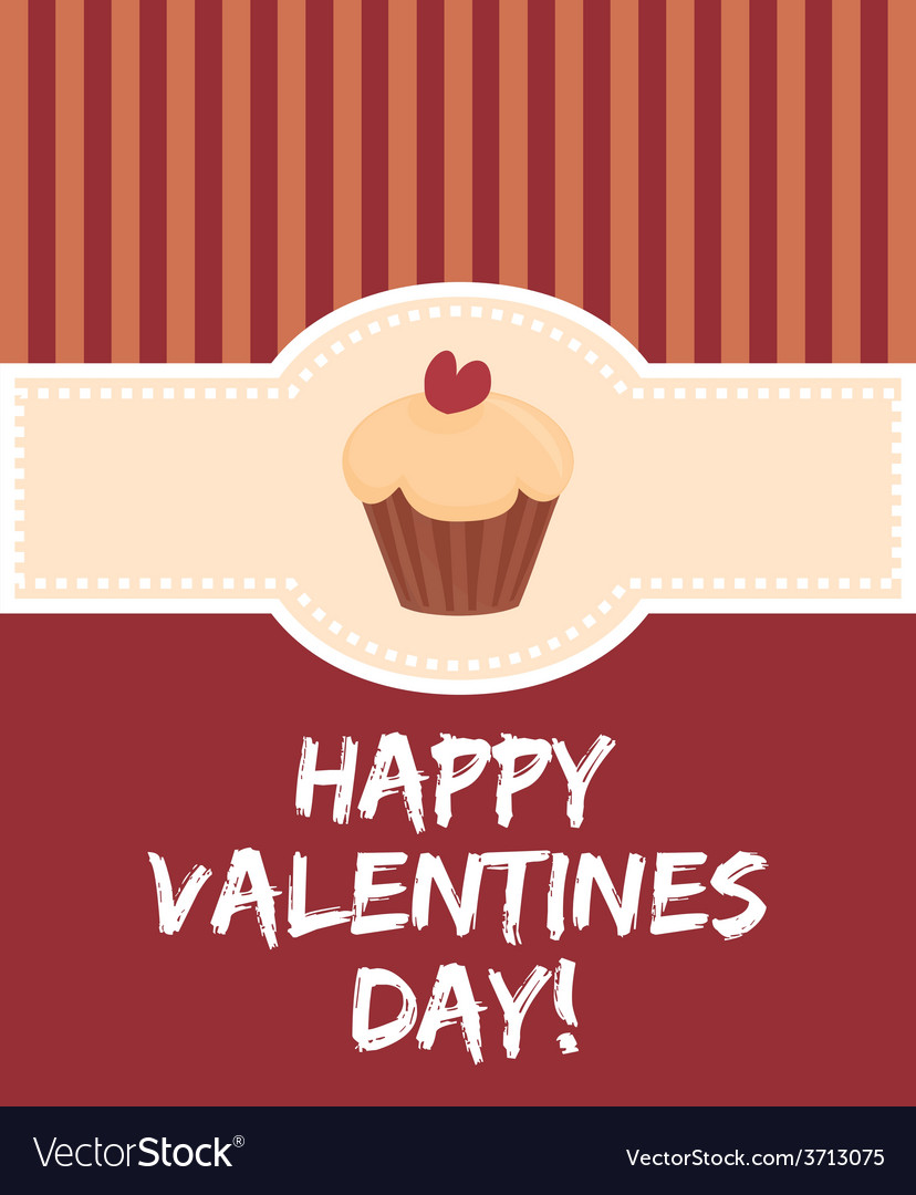 Happy valentines day card with sweet cupcake vector | Price: 1 Credit (USD $1)