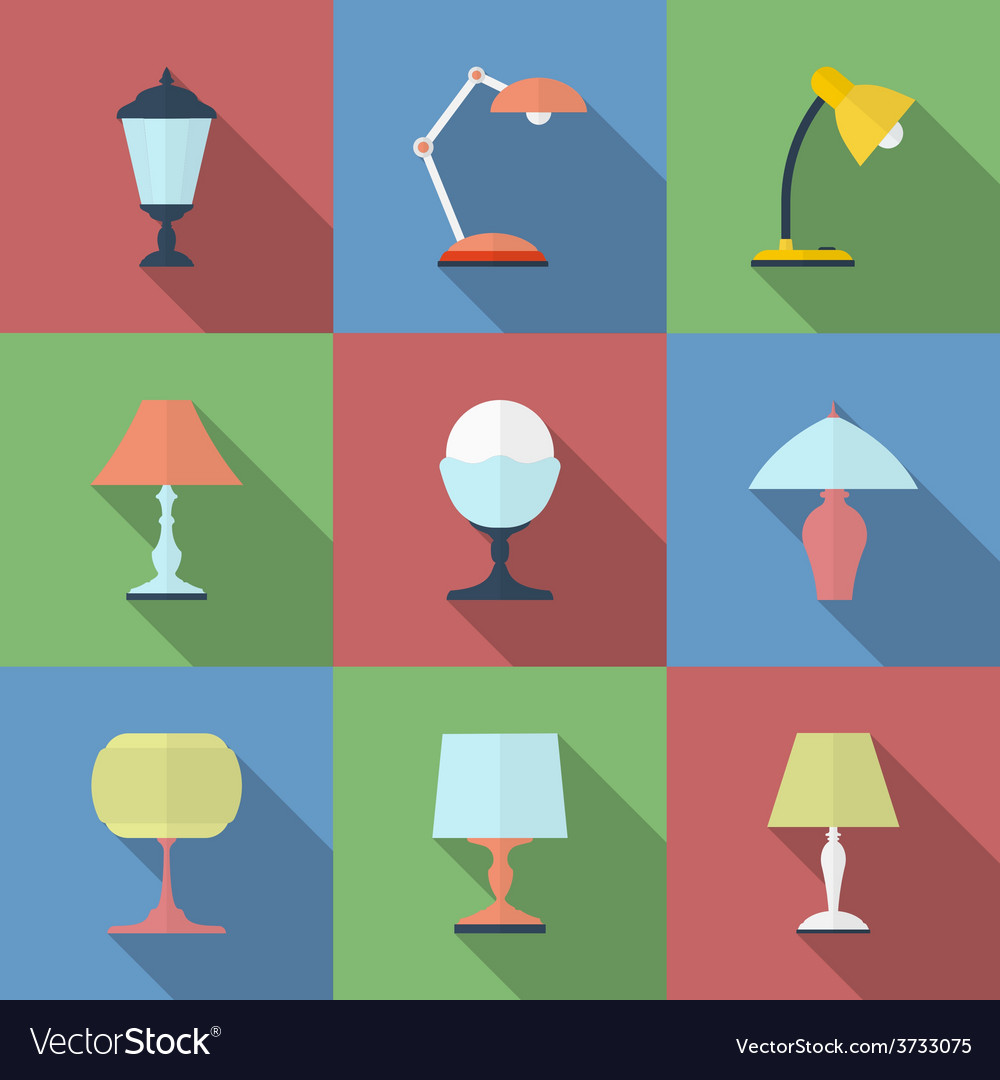 Icon set of lamps modern flat style vector | Price: 1 Credit (USD $1)