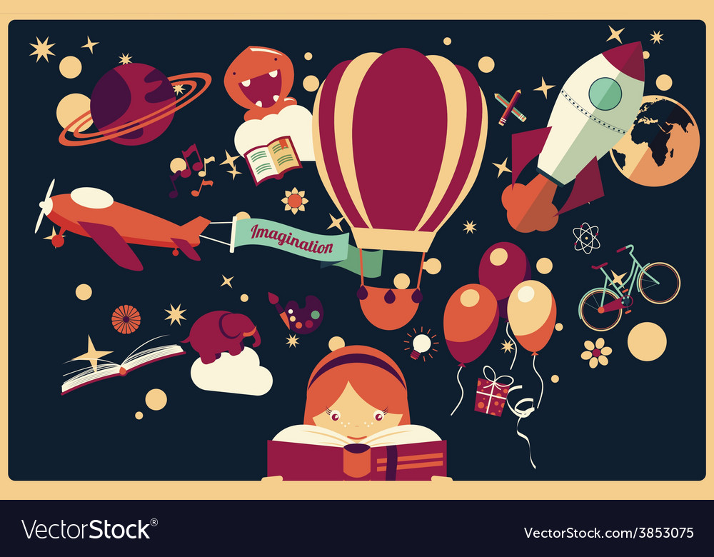 Imagination concept - girl reading a book vector   Price: 1 Credit (USD $1)