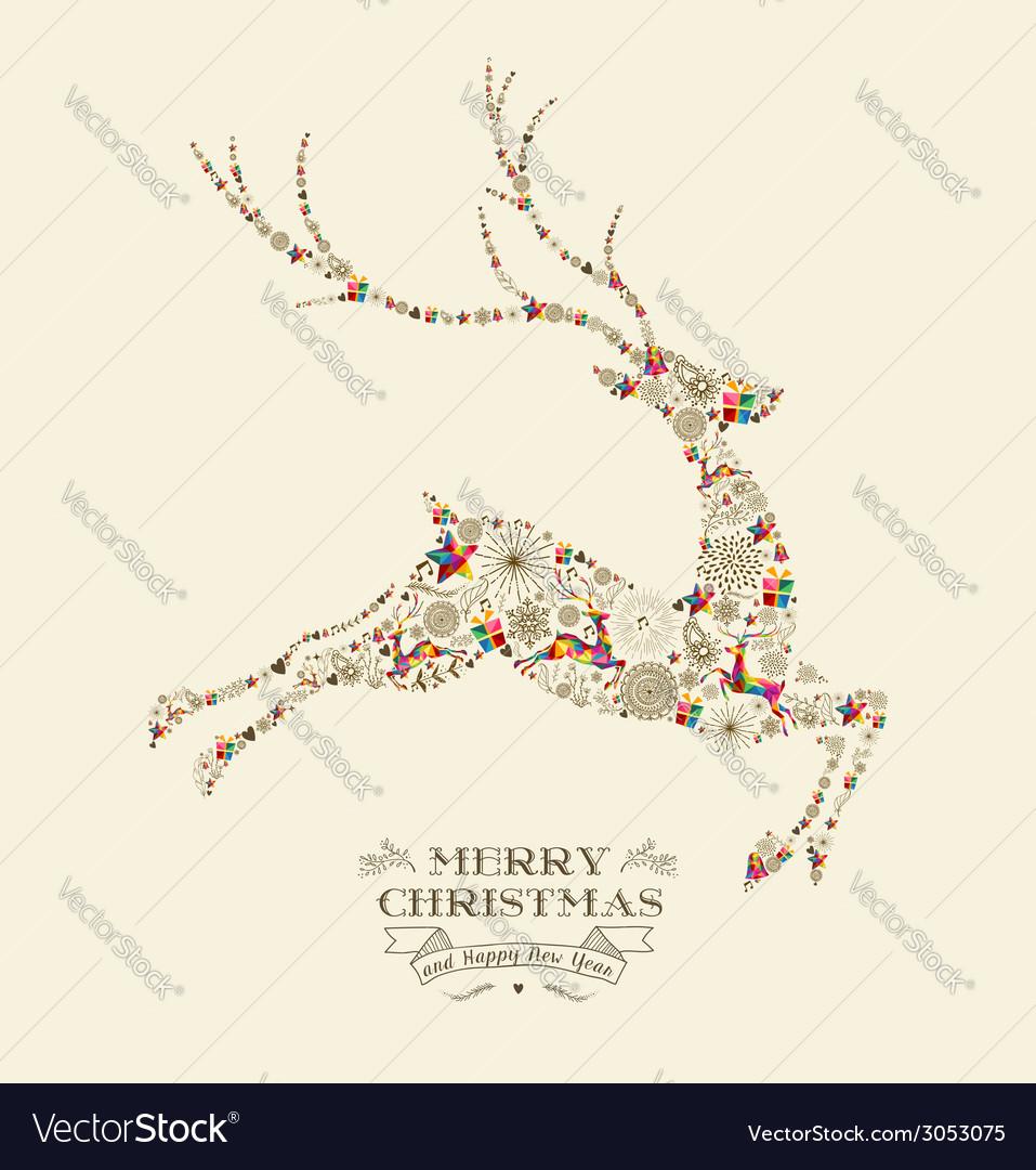 Merry christmas vintage reindeer greeting card vector | Price: 1 Credit (USD $1)