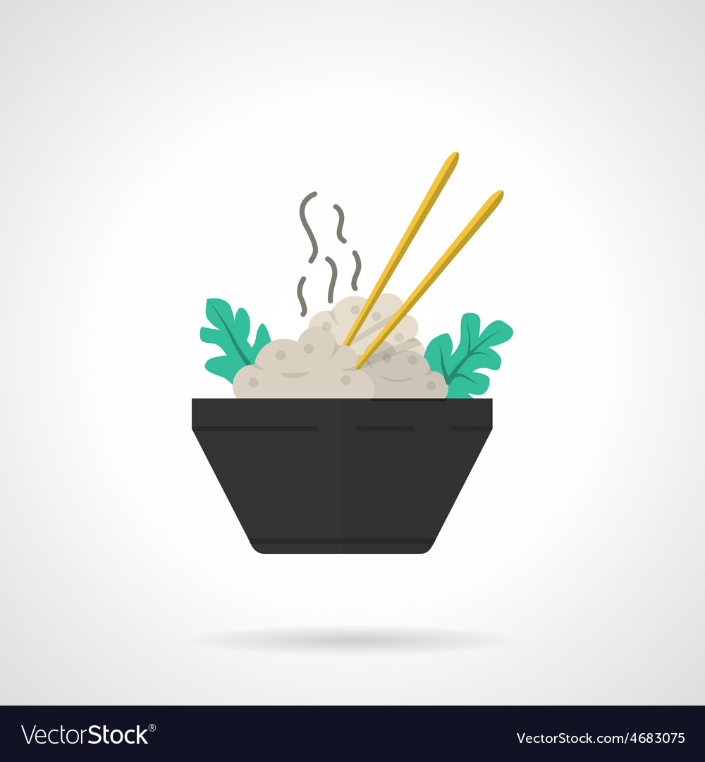 Rice bowl flat icon vector | Price: 1 Credit (USD $1)