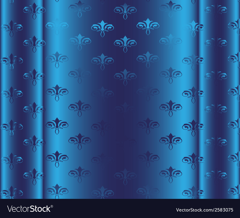 Seamless wallpaper pattern blue background vector | Price: 1 Credit (USD $1)