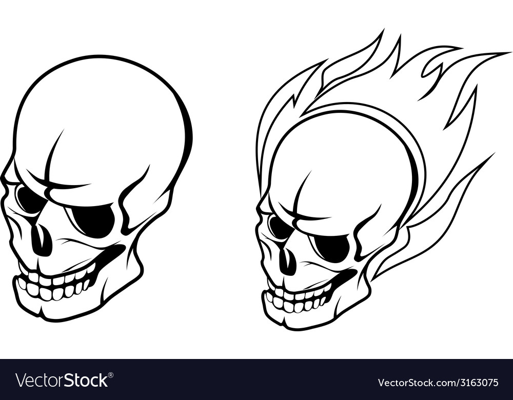 Skull with fire flames vector | Price: 1 Credit (USD $1)