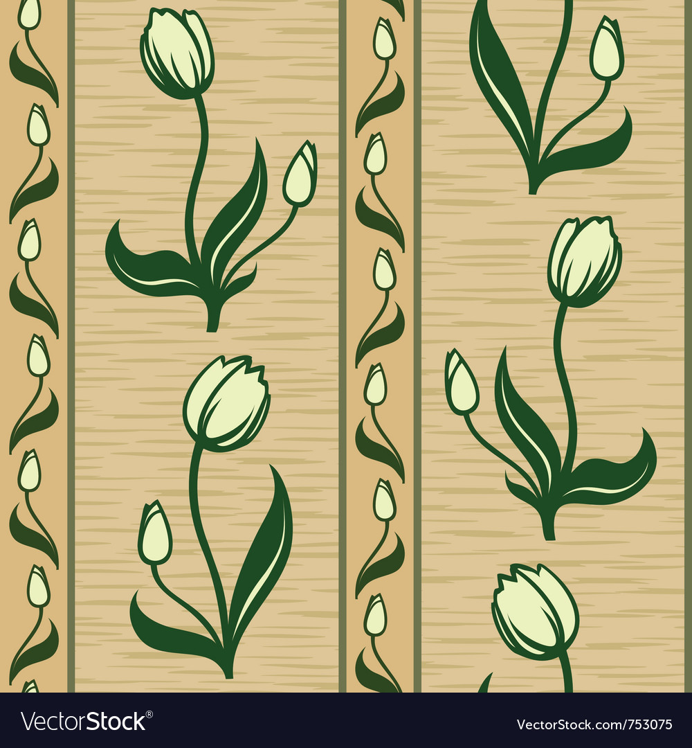 Tulip line seamless background pattern vector | Price: 1 Credit (USD $1)