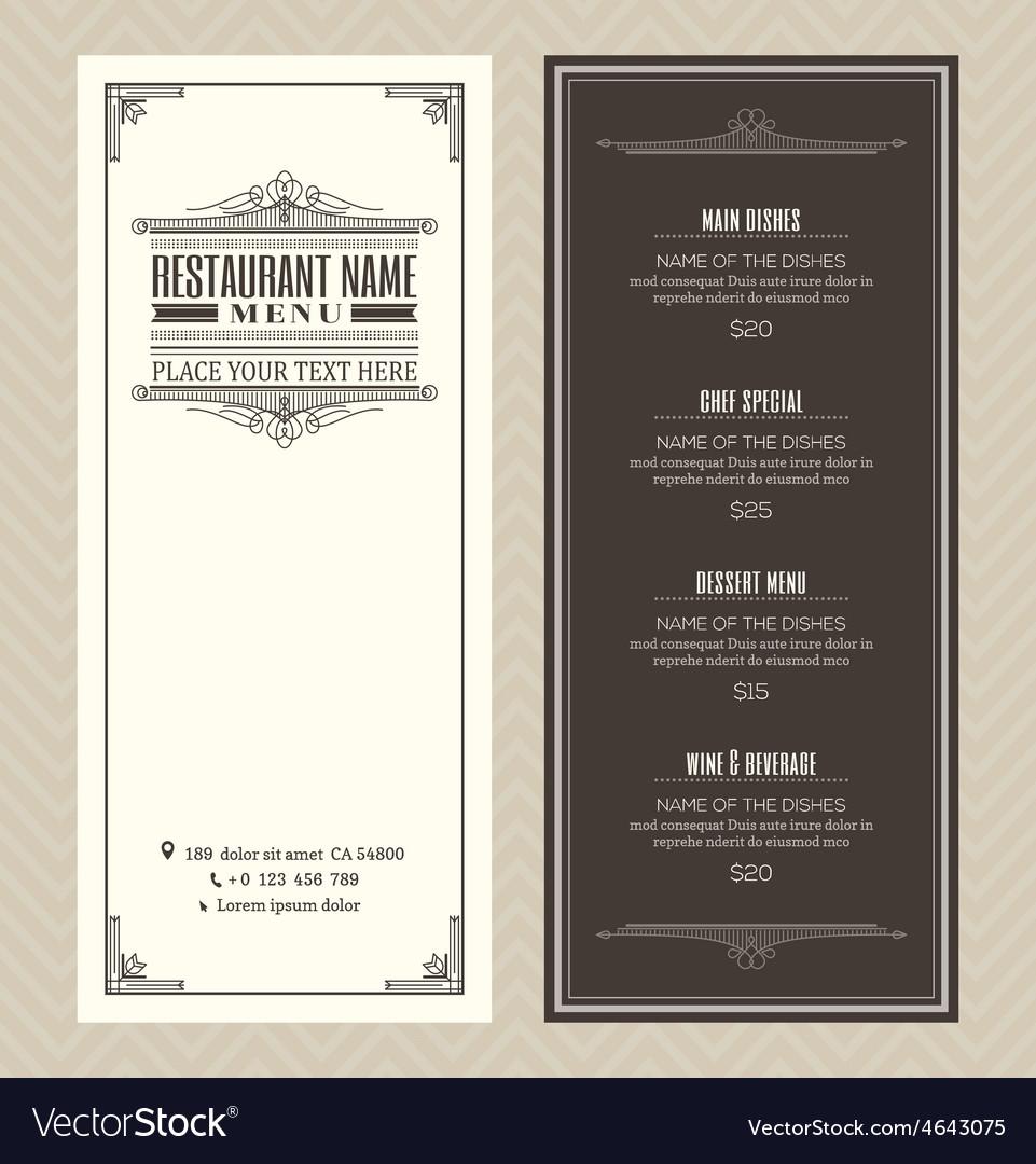 Vintage restaurant or cafe menu design template vector | Price: 1 Credit (USD $1)