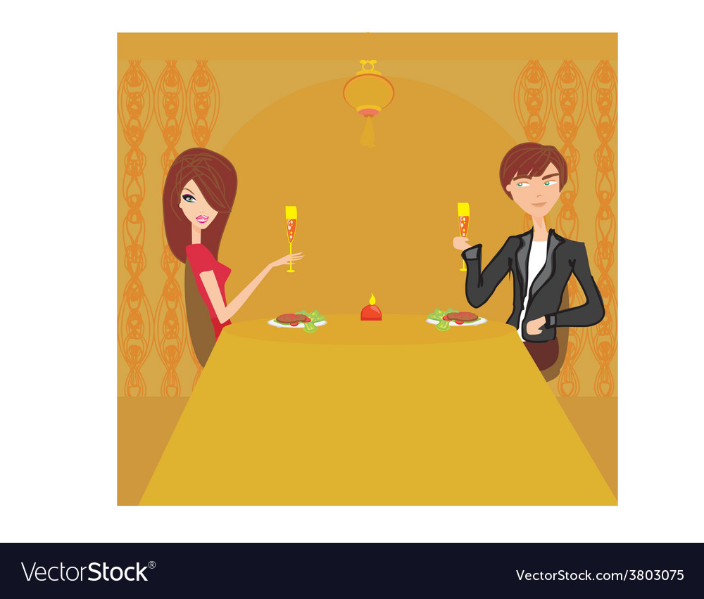 Young couple flirt and drink champagne in vector | Price: 1 Credit (USD $1)