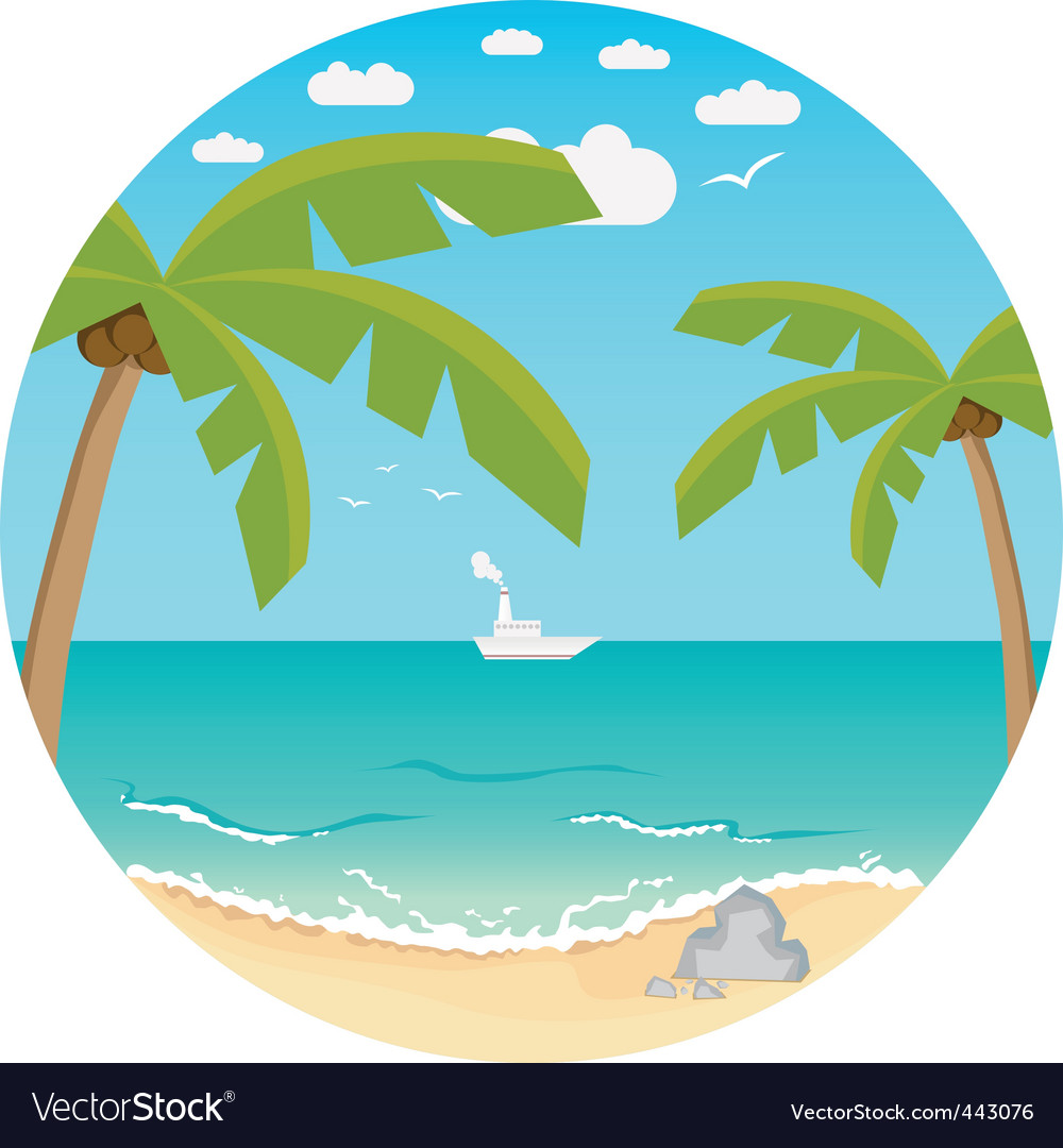 Beach summer background vector | Price: 1 Credit (USD $1)