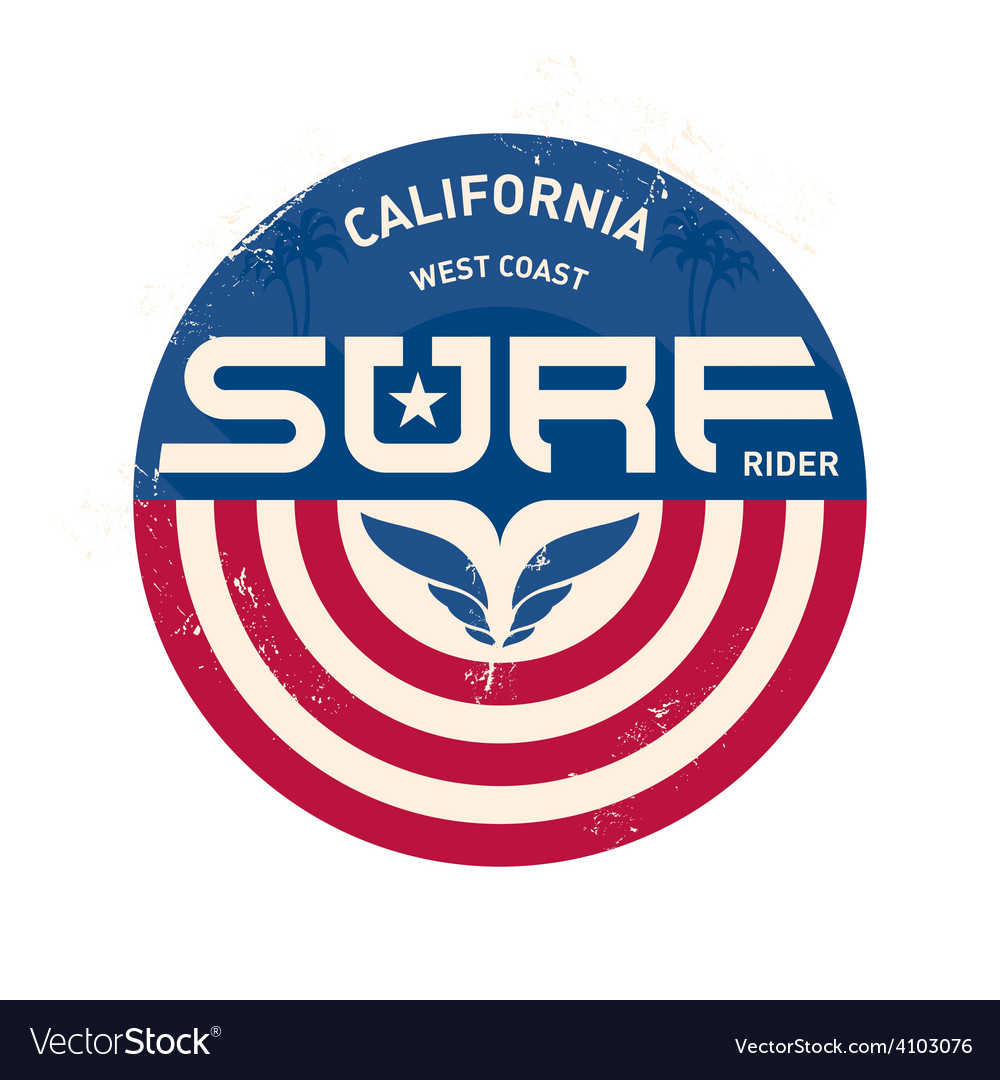 California west coast surfers pacific ocean team vector | Price: 1 Credit (USD $1)
