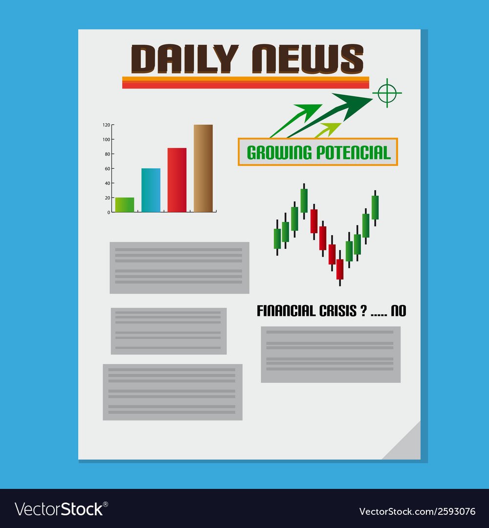 Daily investment news with graph and text vector | Price: 1 Credit (USD $1)