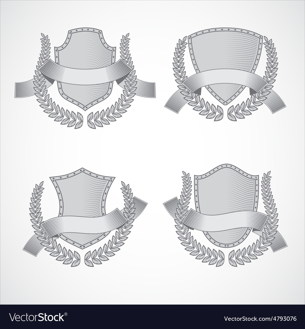 Design elements set of shields with laurel vector | Price: 1 Credit (USD $1)