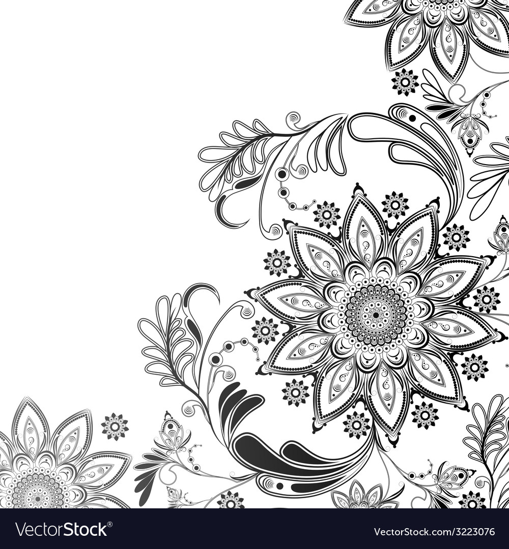 Eastern motif in black and white vector | Price: 1 Credit (USD $1)