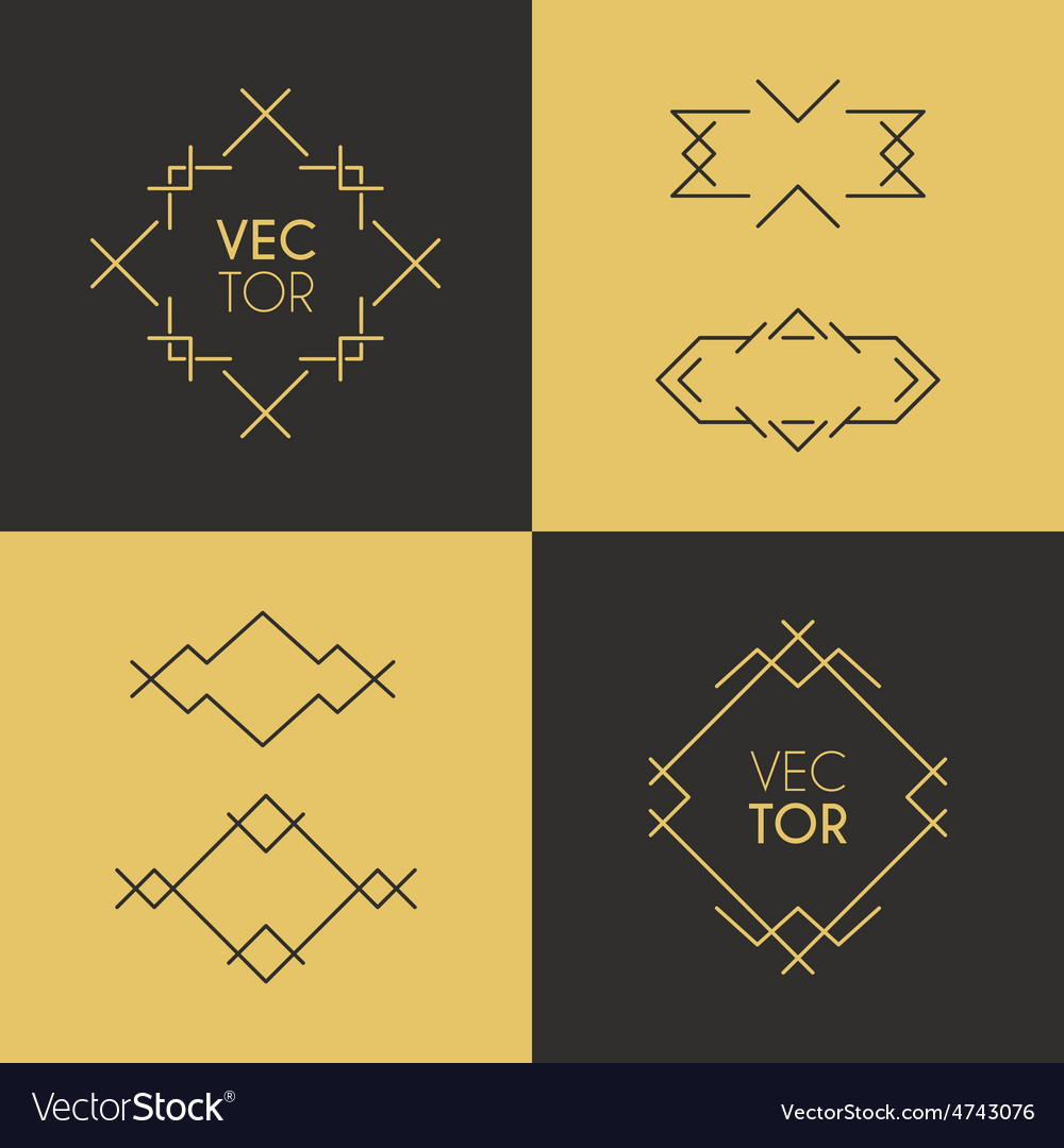 Frame and design elements mono line geometric vector | Price: 1 Credit (USD $1)