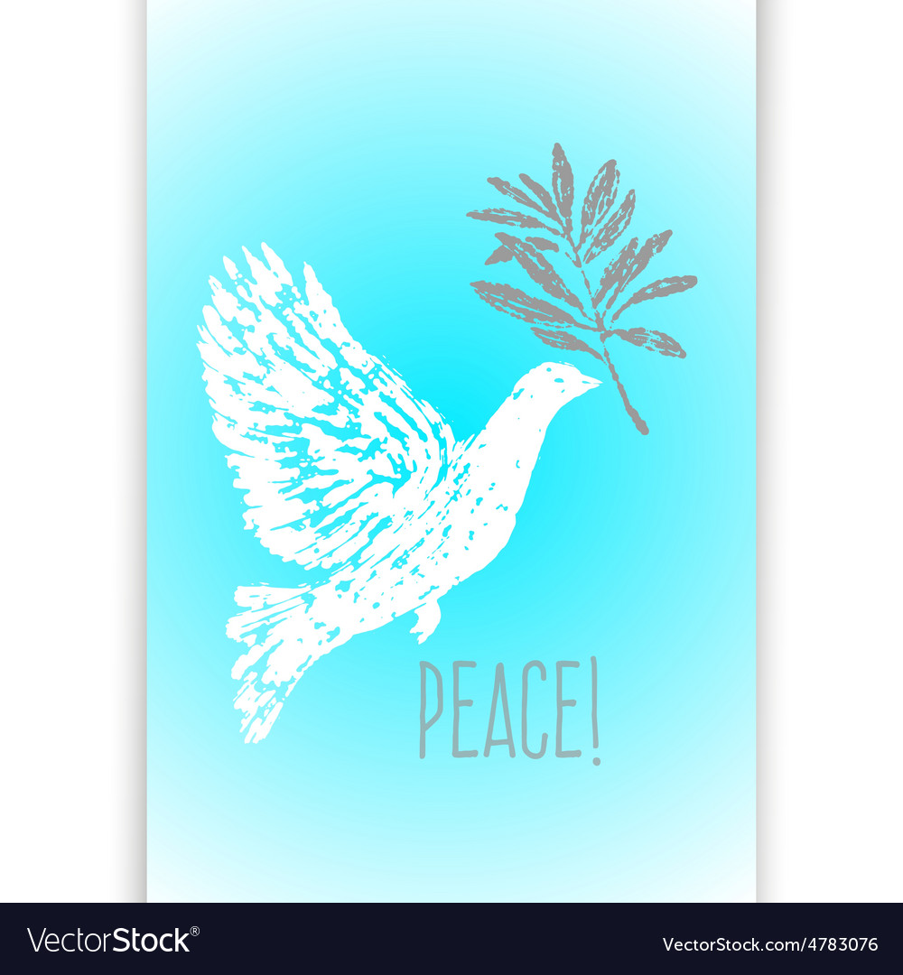 Ink hand drawn dove with olive branch vector | Price: 1 Credit (USD $1)