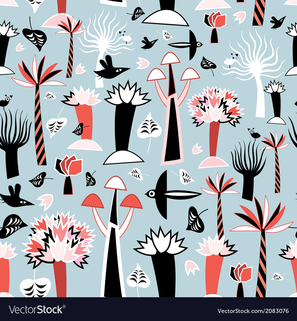 Pattern fabulous trees vector | Price: 1 Credit (USD $1)