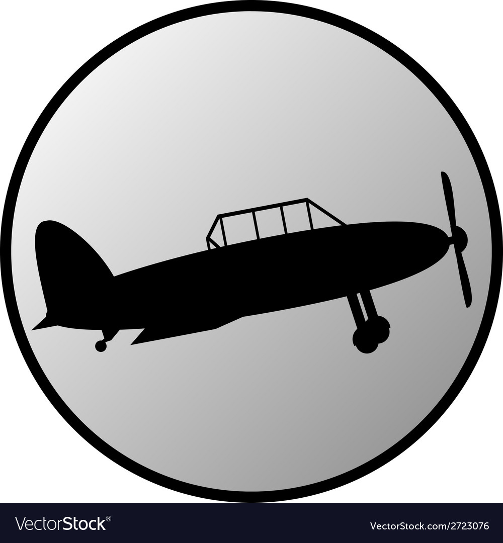 Retro military airplane button vector | Price: 1 Credit (USD $1)