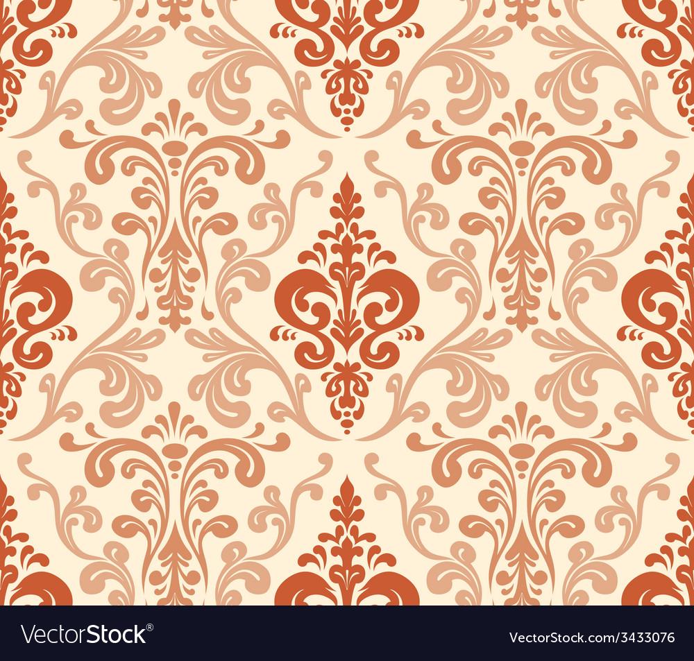 Seamless elegant damask pattern warm colors vector | Price: 1 Credit (USD $1)