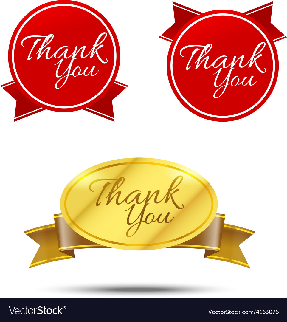 Thank you on banner sign message symbol isolated vector | Price: 3 Credit (USD $3)